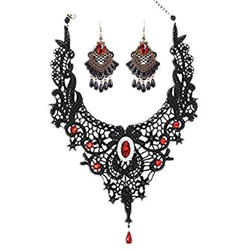 MEiySH Black Lace Gothic Lolita Pendant Choker Necklace Earrings Set (Red Set 001) ()