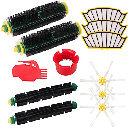 I-clean for iRobot Roomba 500 Series 510, 530, 535, 540, 560, 570, 580, 610 Brush Cleaning Tools & 2 Bristle Brushes & 2 Flexible Beater Brushes & 3 Side Brushes 6-Armed & 3 Filters Pack Mega Kits - I Robot Vacuum Battery