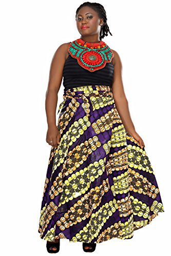 African Planet Women's Paisley Print Wax Skirt Inspired Wrap Around Waist Maxi by African Planet