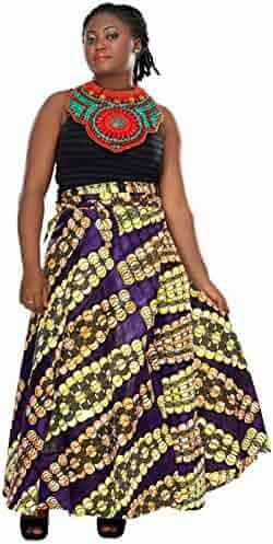 964b8364cd4ce African Planet Women s Paisley Print Wax Skirt Inspired Wrap Around Waist  Maxi