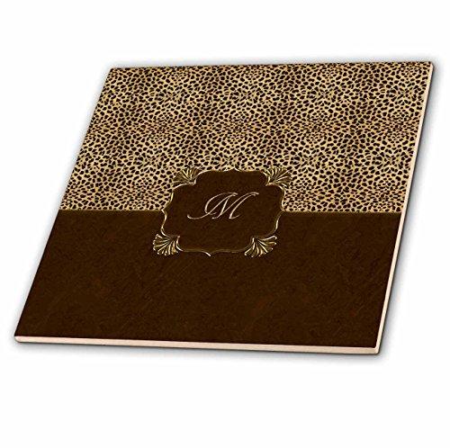 (3dRose ct_113828_3 Elegant Cheetah Animal Print with Gold Framed Monogram Letter M-Ceramic Tile, 8-Inch)