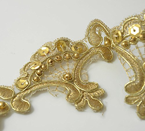 GOLD Beaded Sequin Metallic Lace Trim for Bridal, Costume or Jewelry, Crafts and Sewing, 2-1/4 Inch by 1 Yard, TR-10737