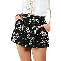 Floerns Women's Flower Print Hot Summer Casual Beach Pockets Shorts