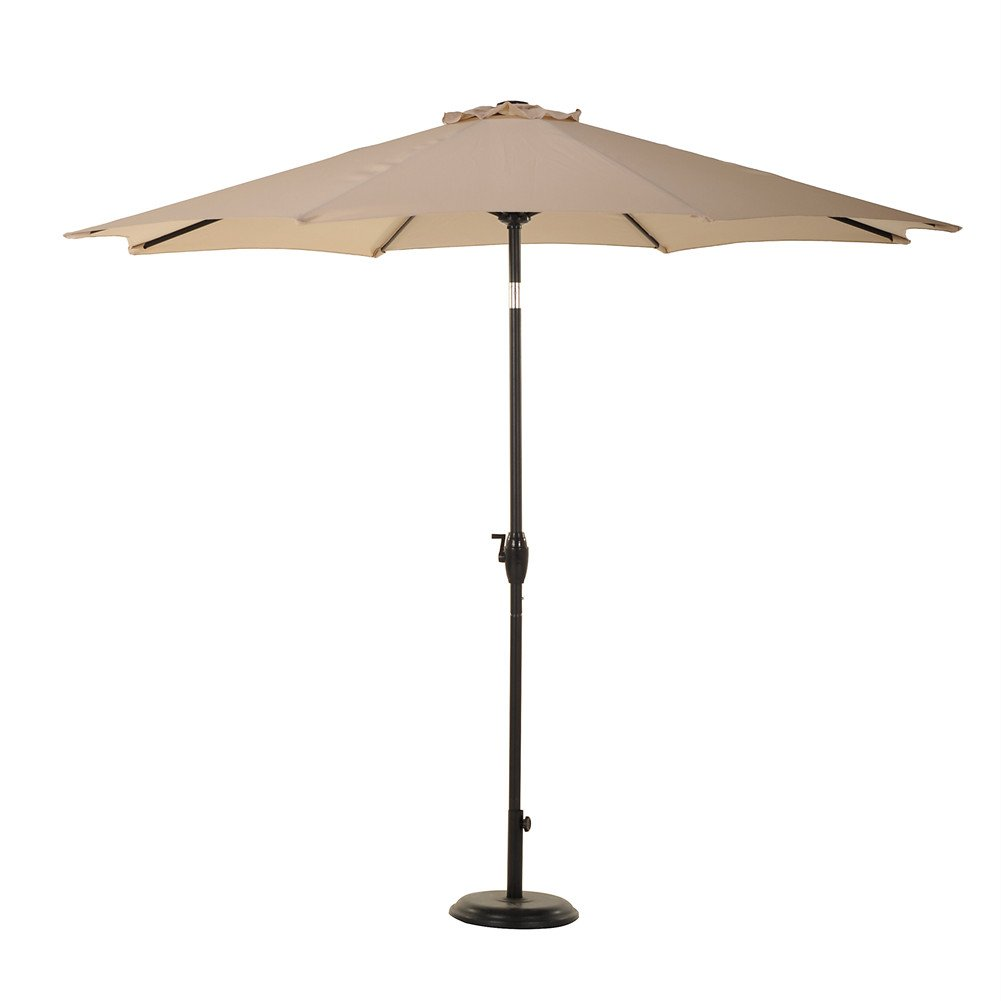 grand patio 9 39 outdoor aluminum market umbrella with auto tilt and crank 8 ribs beige 50 fs. Black Bedroom Furniture Sets. Home Design Ideas
