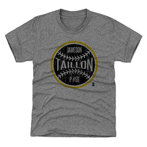 500 LEVEL Pittsburgh Baseball Youth Shirt - Kids Small (6-7Y) Tri Gray - Jameson Taillon Pittsburgh Ball K