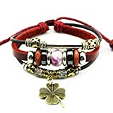 MORE FUN Charm Flower Bead Silver Tone Tube Leather Adjustable Length Wrap Bracelet (Four Leaf Clover)