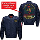 in Memory of The 58479 Brothers and Sisters Who Never Returned Vietnam Veteran Embroidered Jacket (Large, Blue)