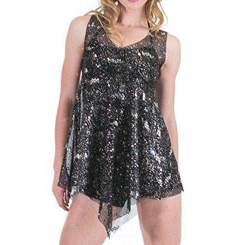 Gia Mia Girl's Dance Glitter Mesh Overdress Large (12-14) Black/Silver by Gia Mia