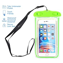 "Universal Waterproof Case, NOKEA Dry Bag for Apple iPhone 7, 6S, 6, 6S Plus, SE 5S 5C, Samsung Galaxy S7 Edge, S7, S6, S5, S4, Note 5 4, HTC LG G5, G4, Sony Nokia Motorola up to 6.0"" diagonal (Green)"