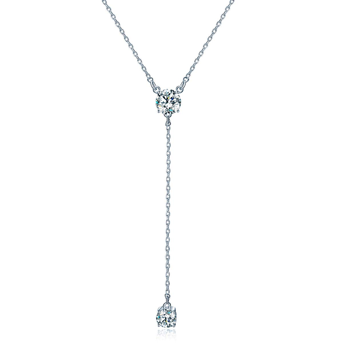 GAEA H Y Necklace Sterling Silver, Long Tassel Simple Crystal with Swarovski Clavicle Women's Necklaces by GAEA H