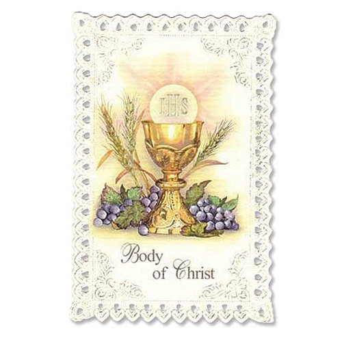 Chalice and Grapes First Communion Lace Holy Card
