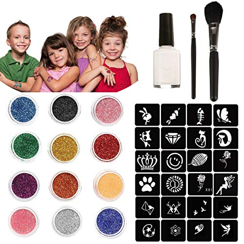 Chnaivy Glitter Tattoos 12 Colors Temporary Make Up Body Glitter Face Paint 49 Sheets Cute Stencils of Glitter 1 Glue 2 Brushes,Waterproof Adhesive Birthday Gift for Kids Girls DIY Party -