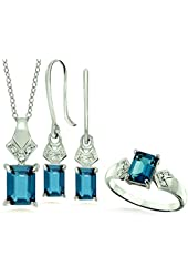 6.09 Carats London Blue Topaz with White Topaz Sterling Silver Jewelry Set