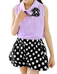 uxcell® Girls Chiffon Top w Elastic Waist Dots Shorts Sets