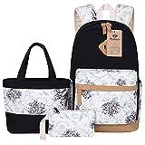 BLUBOON Canvas School Backpack Set 3 Pieces Lightweight Teen Girls Bookbags Lunch Tote Bag Pencil Case (Black-flower)