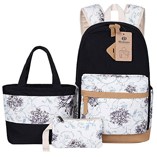 BLUBOON Canvas School Backpack Set 3 Pieces Lightweight Teen Girls Bookbags Lunch Tote Bag Pencil Case (Black-flower)