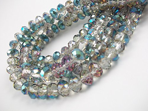 BeadsOne 32pcs Glass Rondelle Faceted Beads 12mm Multi Vitral Multicolor AB C50 (Ab 12mm Beads)
