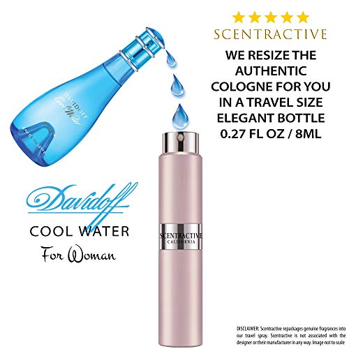 Cool Water By Davidoff For Women Eau De Toilette Spray Travel Mini Size 8 ml / 0.27 Fl Oz
