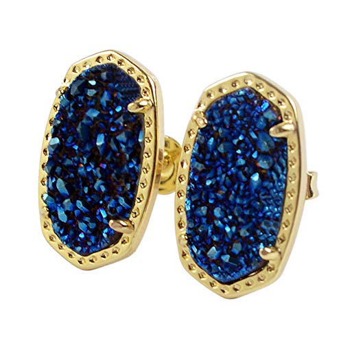 ZENGORI 1 Pair Gold Plated Hexagon Natural Titanium Blue Agate Drusy Post Stud Earrings ZER0124 ()