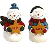 Christmas Snowman Figurines Ornaments Decoration for Holiday Gift Present (Set of 2)