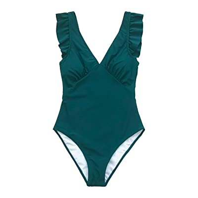 CUPSHE Women's Royal Elegance V Neck One Piece Swimsuit at Women's Clothing store