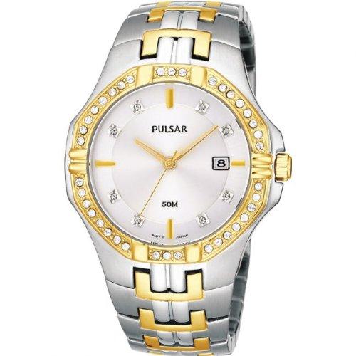 (Pulsar PXDA86X Two Tone Stainless Steel Stone Set Bracelet Watch)