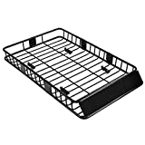 SUNCOO 64 inch Roof Rack Cargo Universal Top Luggage Holder Carrier Basket with Wind Fairing 64x39x6 inch (LxWxH)