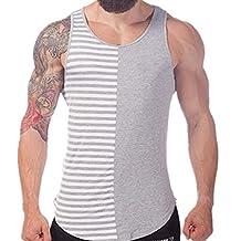 Q&Y Men's Stripe Blank Stringer Y-Back Workout Gym Tank Tops