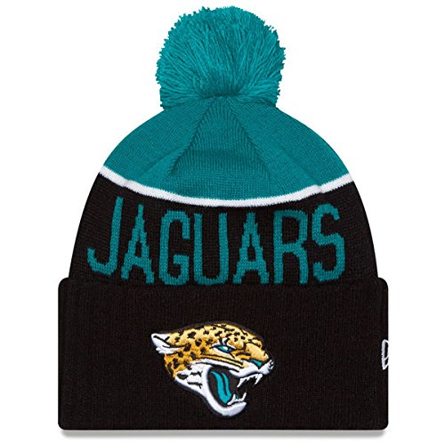 New Era Knit Jacksonville Jaguars Blue On Field Sideline Sport Knit Winter Stocking Beanie Pom Hat Cap 2015 New Era Winter