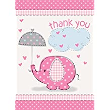 Umbrella Elephant Girl Baby Shower Thank You Notes w...