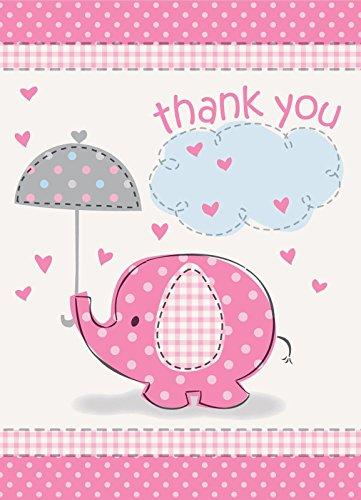 Umbrella Elephant Shower Thank Envelopes