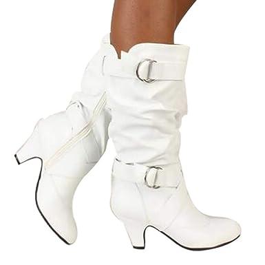 LeeyღღღDamenstiefel Schnalle Riding Kniehohe Cowboystiefel Lange Stiefel Casual Boots Warm Stiefeletten mit Zip Dicken Sohlen Stiefel Schuhe Frauen