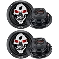4) NEW BOSS SKULL SK653 6.5 700W 3 Way Car Coaxial Audio Speakers Stereo