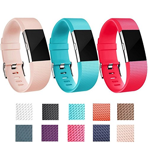 I-SMILE Colorful Silicone Classic Bracelet Strap Replacement Accessory Wristhband with Secure Buckle for Fitbit Charge 2, 10 Colors Available(No tracker, Replacement Bands Only) (Nude - United Nude Mens