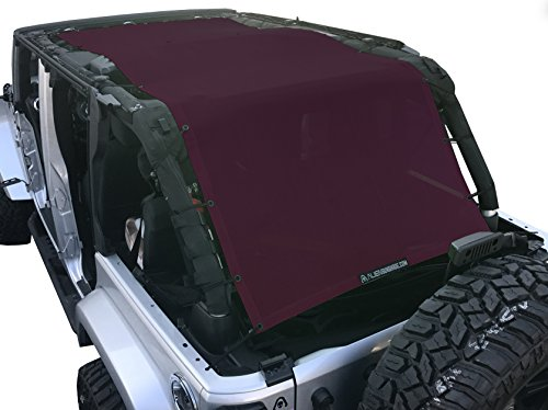 (ALIEN SUNSHADE Jeep Wrangler Extra Long Mesh Shade Top Cover with 10 Year Warranty Provides UV Protection for Your 4-Door JKU (2007-2017) (Wine))