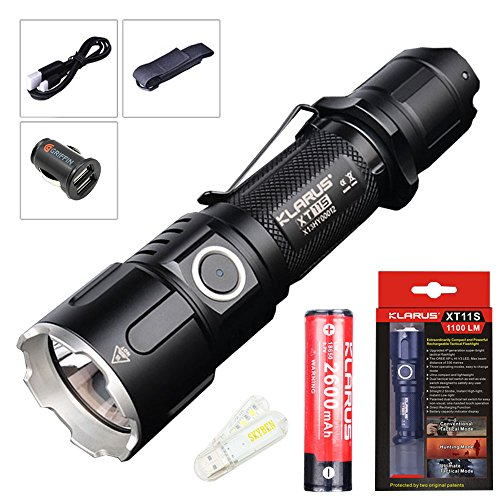 Klarus XT11S Cree XP-L HI-V3 LED 1100 Lumens 18650 Tactical Rechargeable Flashlight With SkyBen USB Light (2600mAh Battery)