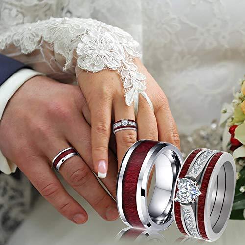 clacce Ring Herren/Damen Titanium Außenbreite, Men/Damen Fashion Schmuck Ehering Verlobungsring Freundschaftsring Lifestyle-Ring, Rot + Silber