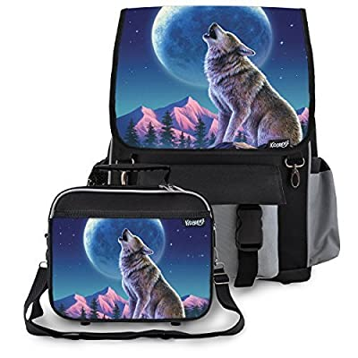 50%OFF Kidaroo Wolf Moon Howl School Backpack & Lunchbox for Girls, Boys, Kids