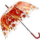 Bubble Umbrella Transparent Thicken PVC Mushroom Green Leaves Rain Clear Leaf (red)