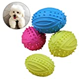UEETEK 4 Pcs Pet Dog Ball Fetch Ball Chew Toys,Rubber Rugby Ball Football for Small Dogs
