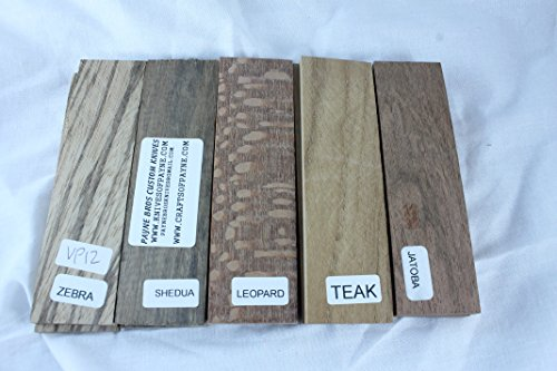 Variety pack of 5 wood scales, 5 INCH, for knife making - gun grps - craft supplies (VP12)