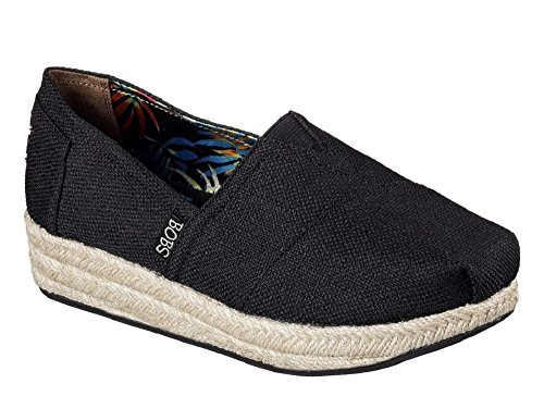 BOBS from Skechers Women's Highlights High Jinx Flat, Black, 8.5 M US