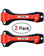 LOYMR 2 Pack Car Safety Hammer, Auto Car Window Glass Hammer Breaker and Auto Safety Seatbelt Cutter 2-in-1 Emergency Escape Tool(Upgrade Material)
