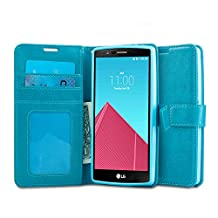LG G4 Case, J&D [Stand View] [Aqua] LG G4 Wallet Case [Slim Fit] [Stand Feature] Premium Protective Case Wallet Leather Case for LG G4 (Incompatible with Leather Back G4)