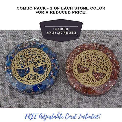 - Orgonite Chakra Energy Web Tree of Life Orgone Pendant - Revitalization and Relaxation Chi-Lapis Lazuli, Carnelian Crystal Necklace- Brass and Copper Tesla Coil Embedded- Unisex (Combo)