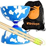 Jester Medium Diabolo (Blu/Wht) with Firetoys Wooden Diablo Sticks (incl string) & FT Bag by Juggle Dream