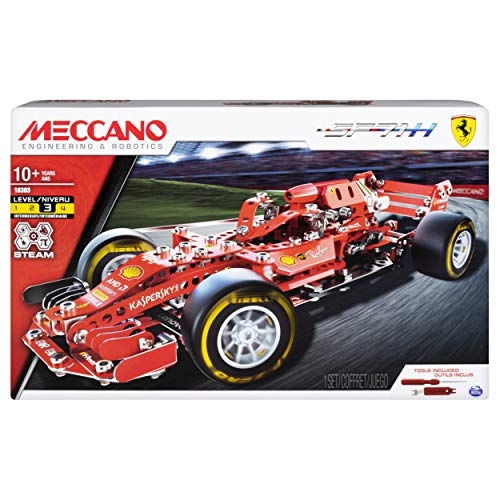 Meccano Ferrari Grand Prix Racer STEM Building Kit with Poseable Steering, for Ages 10 and -