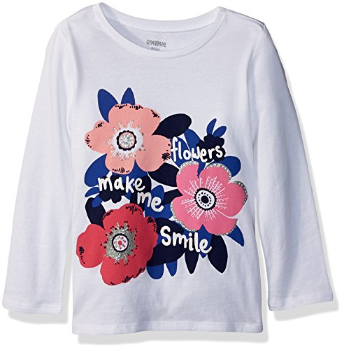 Gymboree Girls' Little Long Sleeve Sequin Graphic TEE, White Flower Print, M