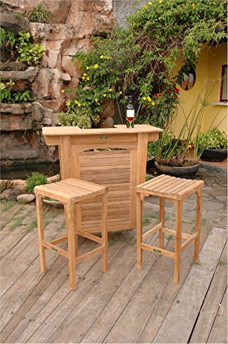 Anderson Teak Set-49 - No Cushion Montego Bar Table & Montego Backless Bar Chair Set - Montego Flush