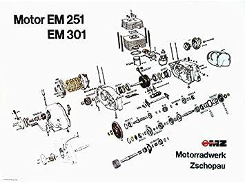 FEZ Explosionszeichnung vom Motor ETZ251, ETZ301: Amazon.de: Auto